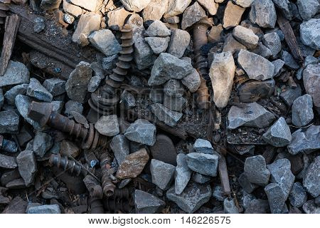 Debris Rock Nail Screw Construction Texture Background Grey