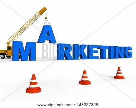 Marketing Crane Shows Sem And Seo 3D Rendering