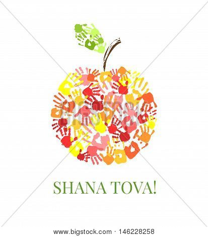 Apple made from hands. Creative greeting card design for Jewish New Year Rosh Hashanah. Vector illustration