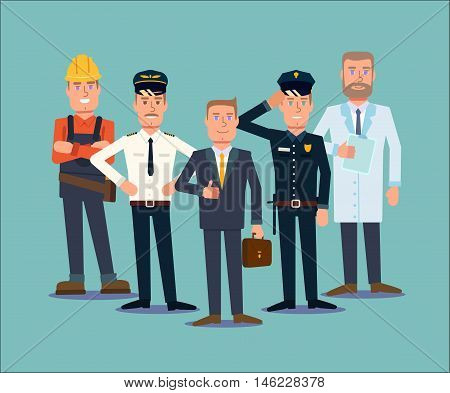 Professions people set. Flat vector illustration. 5 types of occupation