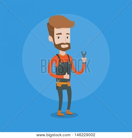 Young repairman standing with a spanner in hand. Confident hipster repairman with the beard giving thumb up. Plumber or auto mechanic holding a spanner. Vector flat design illustration. Square layout.
