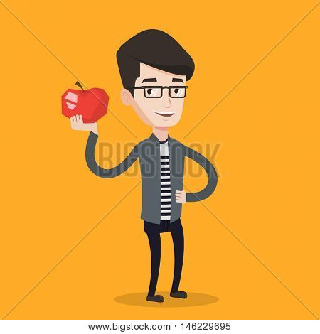 A hipster man with the beard holding an apple in the kitchen. Young man eating an apple in the kitchen. Man with an apple at home. Vector flat design illustration in the circle isolated on background.