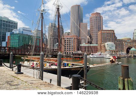 Boston,Massachusetts,USA - JULY 15,2016 : The Roseway schooner in Boston harbor. It is a wooden gaff-rigged schooner launched on 24 November 1925 in Essex Massachusetts. Now restored it is listed as a National Historic Landmark.