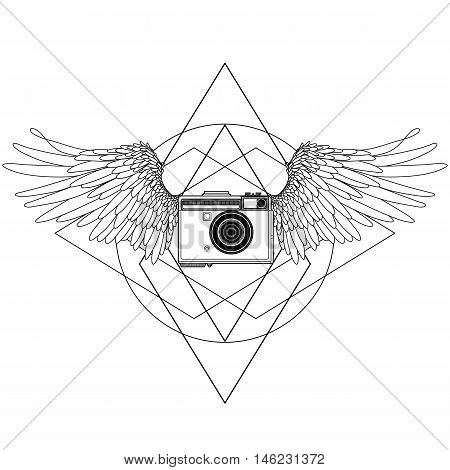 Graphic vintage camera with two wings. Conceptual art for web sites, business cards and other corporate identitys for the photographers. Coloring book page design for adults and kids