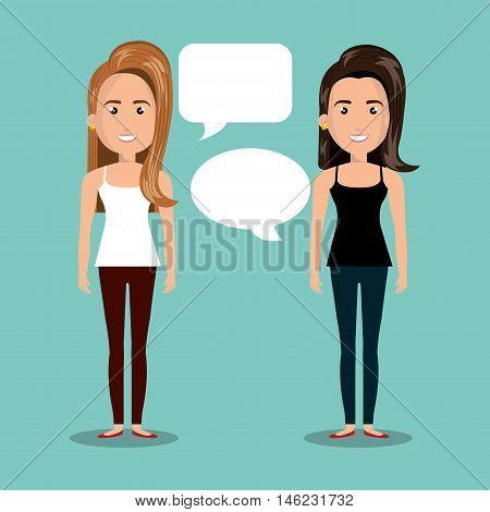 women talking dialogue isolated vector illustration eps 10
