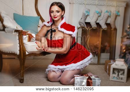 Beautiful Brown-haired Woman With A Curvy Shape To Suit Snow Maiden Assistant Santa Klasusa And Whit