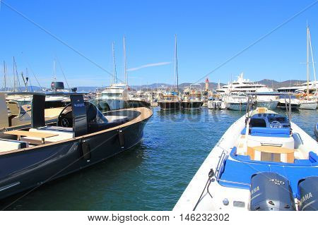 Saint-tropez, Provence, France - August 21, 2016: Powerful Motorboats Moored In The New Port At St T