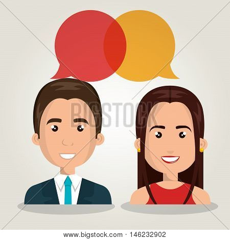 man woman talking bubble dialogue isolated vector illustration eps 10