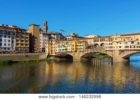 the famous Ponte Vecchio over river Arno in Florence Italy