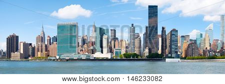 Very high resolution panoramic image of the midtown New York City skyline including the UN Building