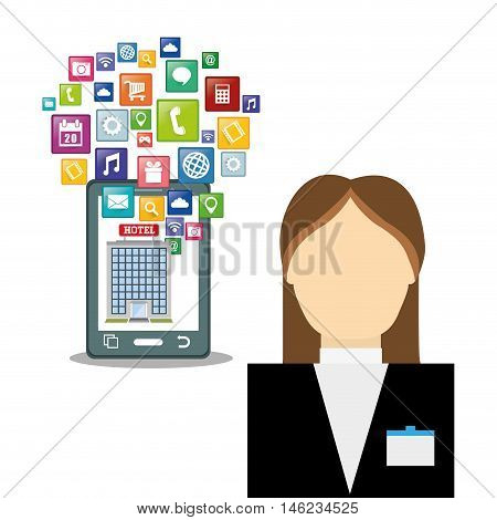 Woman receptionist smartphone and hotel building with apps icon set. Service technology media and digital theme. Colorful design. Vector illustration