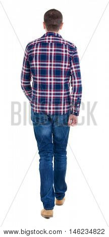 Back view of going  handsome man in checkered shirt. walking young guy . Rear view people collection.  backside view of person.  Isolated over white background.