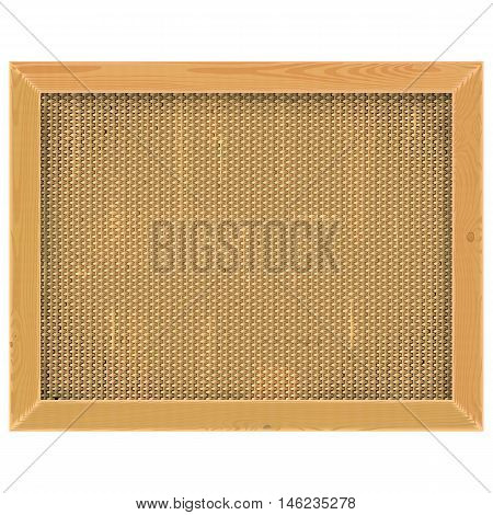 Vector Wooden Frame with Sackcloth isolated on white background