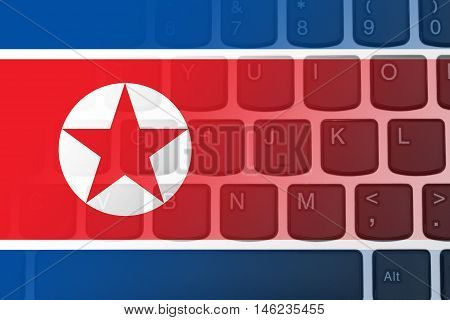 Restricted Internet access in North Korea The North Korean flag on a computer keyboard, 3D Illustration