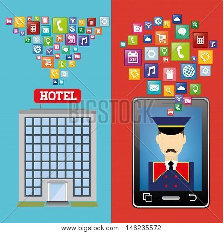 bellboy smartphone and hotel building with apps icon set. Service technology media and digital theme. Colorful design. Vector illustration