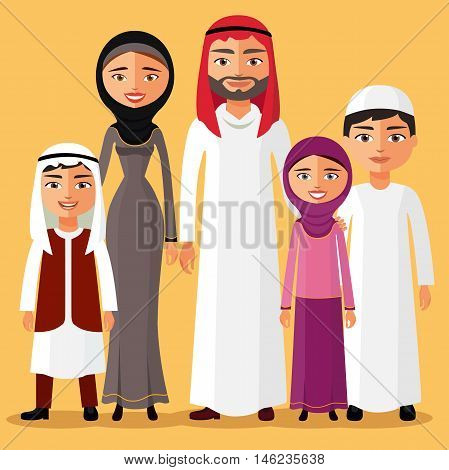 Happy muslim arabic family members isolated on background. Arab cartoon people father, mother, son, daughter.