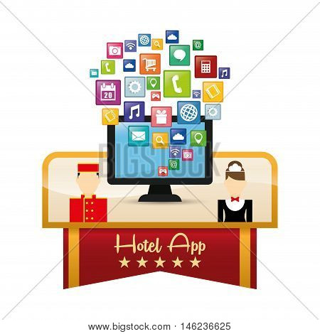 Computer maid bellboy and hotel apps icon set. Service technology media and digital theme. Colorful design. Vector illustration