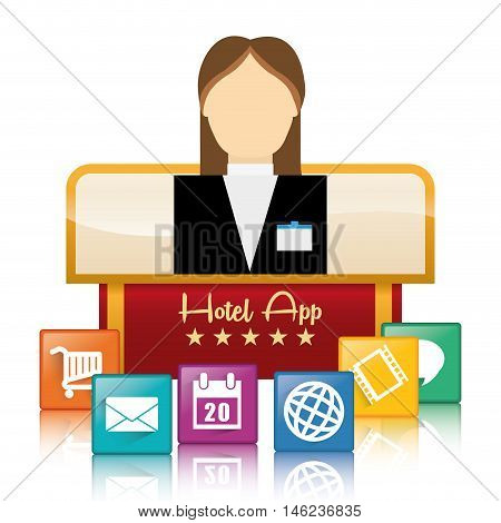 receptionist woman and hotel apps icon set. Service technology media and digital theme. Colorful design. Vector illustration