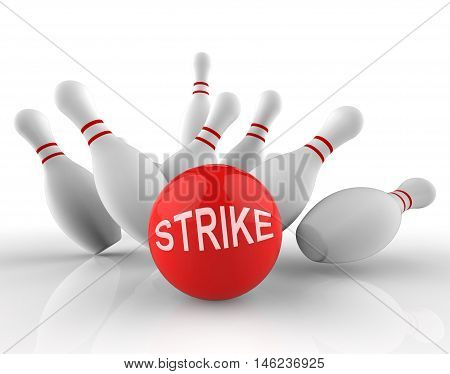 Bowling Strike Shows Ten Pin 3D Rendering