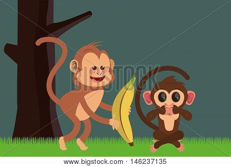 flat design playful  jungle monkeys cartoon  and banana vector illustration
