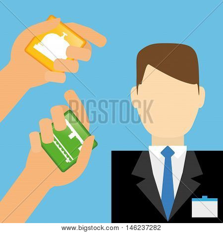 receptionist man and hotel apps. Service technology media and digital theme. Colorful design. Vector illustration