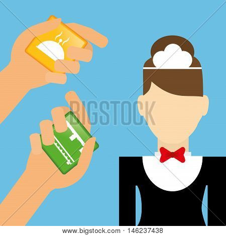 Maid hand and hotel apps. Service technology media and digital theme. Colorful design. Vector illustration