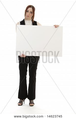 Sad Woman With Sign