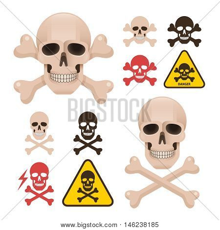 Skull with crossbones as a symbol of danger alert. Different types of bone positions and color variations.