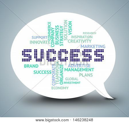 Success Bubble Means Triumphant Winning And Resolution