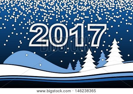 New Year card and 2017 sign (done in 3d rendering)