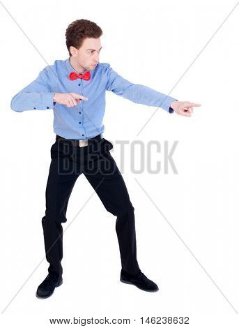 Referee suit and tie butterfly separates boxers. white background. the referee instructs hands.
