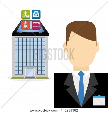 Smartphone receptionist and hotel apps icon set. Service technology media and digital theme. Colorful design. Vector illustration