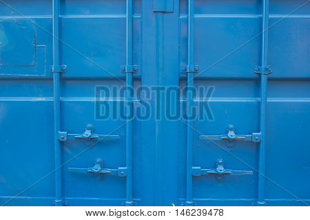 Side profile view of blue cargo freight container isolated