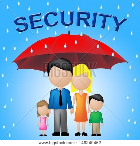 Family Security Indicates Parents Protecting Their Children