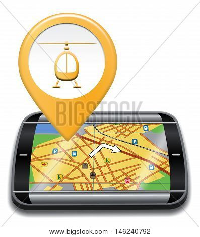Heliport Gps Represents Helicopter Transportation And Navigator