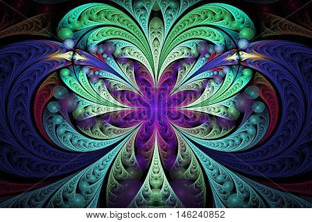 Abstract floral ornament on black background. Symmetrical pattern. Computer-generated fractal in green turquoise navy blue yellow and violet colors.
