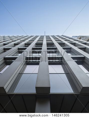 Retro High rise office building with strong perspective