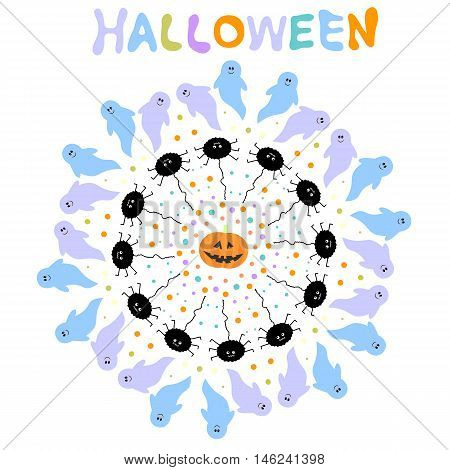 Cute and funny halloween background with ghosts spiders dots and pumpkin