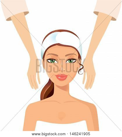 Young girl taking Spa treatments isolated on a white background. Vector illustration. Eps10.