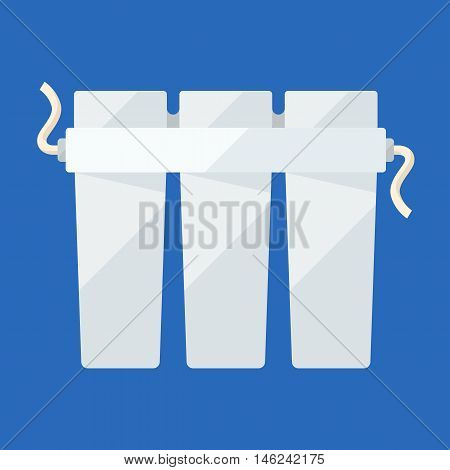 Filter triple cartridge flat icon for water purifying