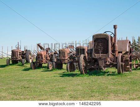 Row of old rusty tractors in green field