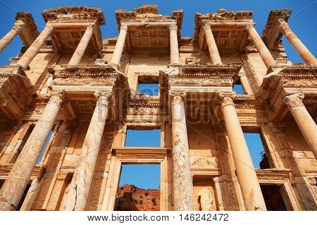 Library of Celsus in Ephesus Turkey. Detail on architecture. Close up