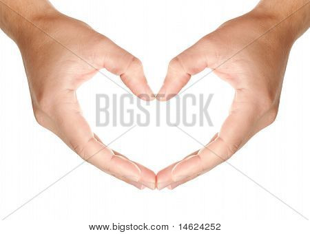 Male Hands In Protecting Heart Shape