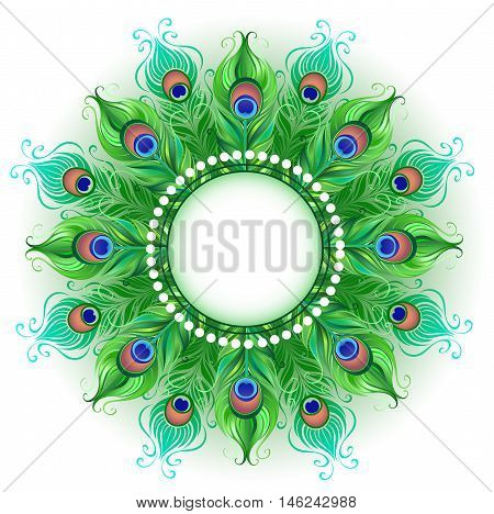 Mandala and bright green peacock feathers on a white background. Design with bright feathers. Boho Style. Peacock feather.