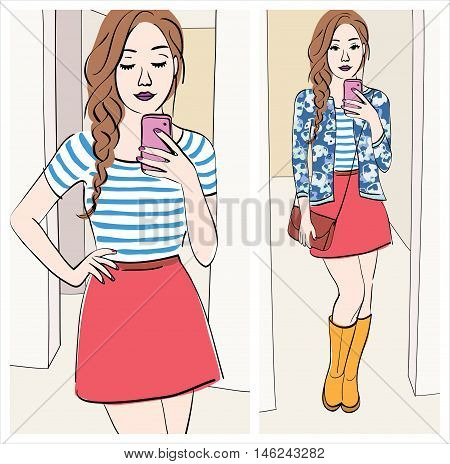 look of the day: Illustration of a brunette girl with braid taking a mirror selfie with cute outfit