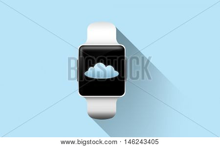 modern technology, object and computing concept - close up of smart watch with cloud icon on screen over blue background
