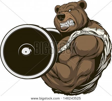 Vector illustration of an angry bear with a barbell
