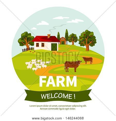 Beautiful farm landscape poster with farmhouse sheep and cows on green grass flat vector illustration