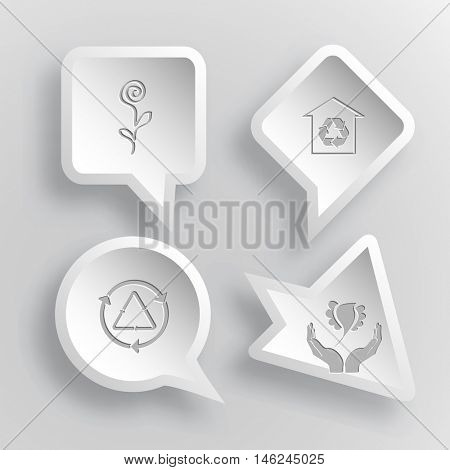 4 images: flower, protection of nature, recycle symbol, bird in hands. Nature set. Paper stickers. Vector illustration icons.