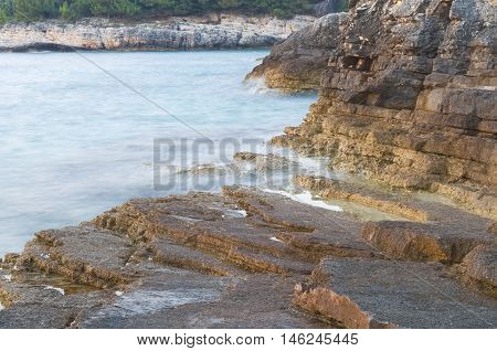 Sea And Rocky Shore Long Exposure